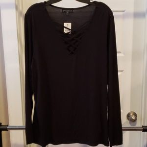 Lane Bryant Long Sleeve Criss Cross Top
